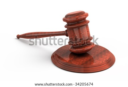 Wooden gavel from the court. 3d render. Isolated on white background - stock photo