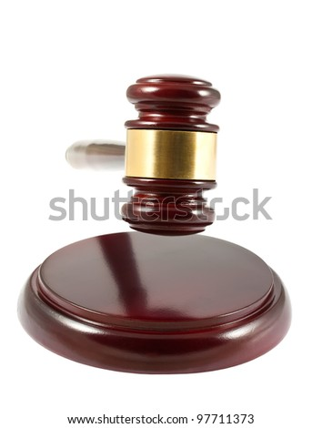 Wooden gavel isolated on white background - stock photo