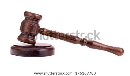Wooden gavel isolated side view - stock photo