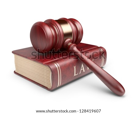 Wooden gavel with book. LAW concept. 3D Icon isolated - stock photo