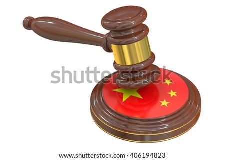 Wooden Gavel with Flag of China, 3D rendering - stock photo
