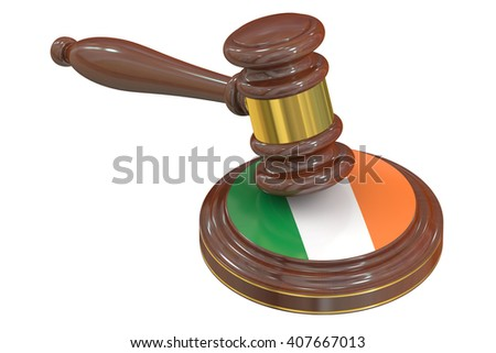 Wooden Gavel with Flag of Ireland, 3D rendering - stock photo