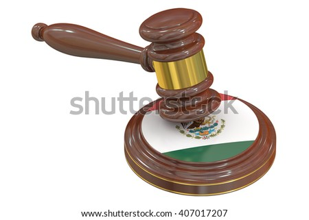 Wooden Gavel with Flag of Mexico, 3D rendering - stock photo