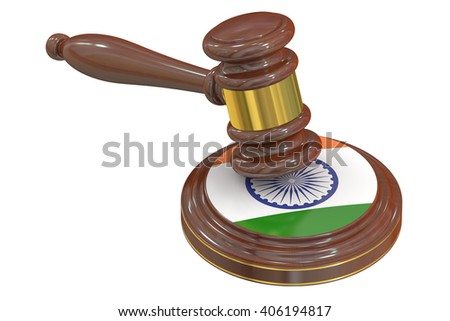 Wooden Gavel with Indian Flag, 3D rendering - stock photo