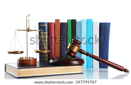 Wooden gavel with justice scales and stack of books, isolated on white - stock photo