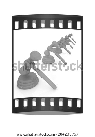 Wooden gavels isolated on white background. The film strip - stock photo