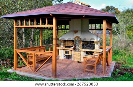wooden gazebo - stock photo