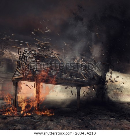 Wooden gazebo on fire and a black tornado - stock photo