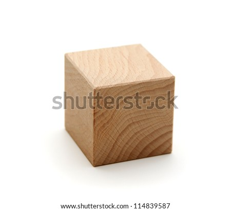 wooden geometric shapes cube  isolated on a white background - stock photo