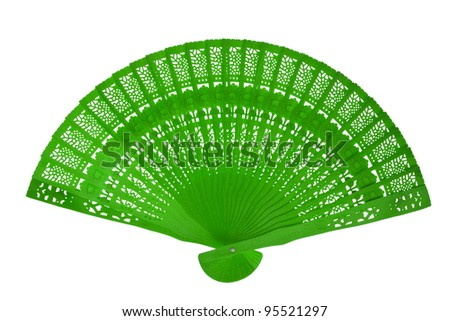 Wooden green fan - stock photo