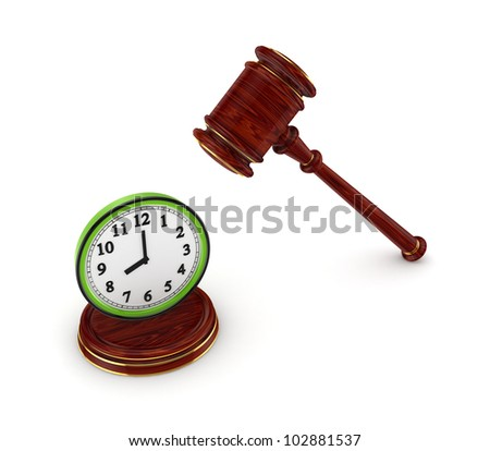 Wooden hammer and green watch.Isolated on white background.3d rendered. - stock photo