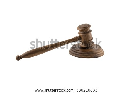 wooden hammer isolated on white background - stock photo