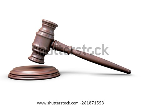Wooden hammer of the judge isolated on white background. 3d illustration. - stock photo