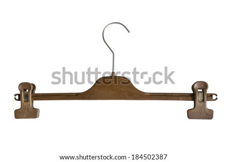 Wooden hanger with clips isolated over white - stock photo