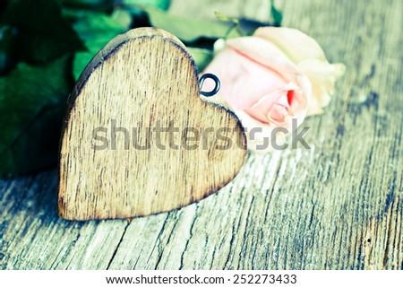 Wooden heart/retro filter - stock photo