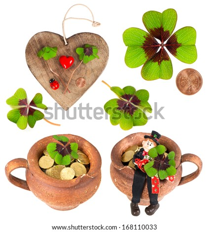 wooden heart with symbols of luck. red heart, coin, clover, shamrock, chimney sweep and ladybug. lucky charm - stock photo