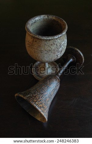 Wooden holy grails - stock photo