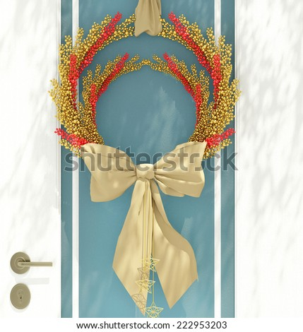Wooden home door decorated with christmas wreath for the holiday. - stock photo