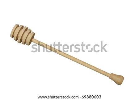 wooden honey drizzler on white background - stock photo