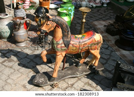 wooden horse on a flea market in Poland, Gdansk - stock photo