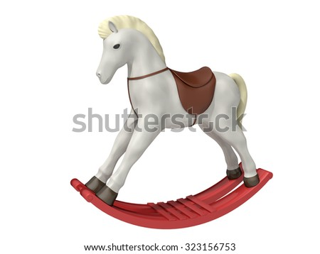 wooden horse on a white background - stock photo