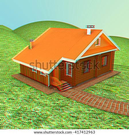 Wooden house against the background of fairytale landscape. 3D illustration. Anaglyph. View with red/cyan glasses to see in 3D. - stock photo