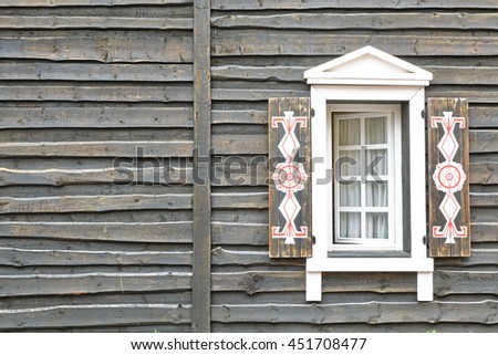 Wooden House Grey Wall From Overlapped Unedged Rough Shabby Board In Vintage Modern Rustic Style And Opened Window With Decorative Shatters And White  Curtains - stock photo