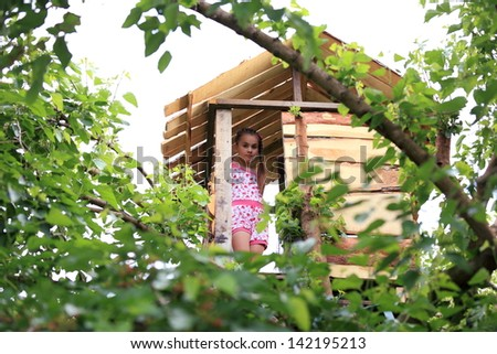 Wooden house high on a tree in the forest - stock photo