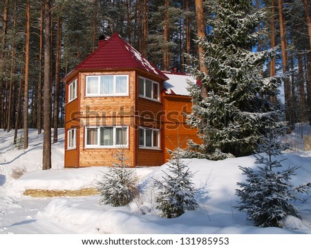 Wooden house in the forest - stock photo