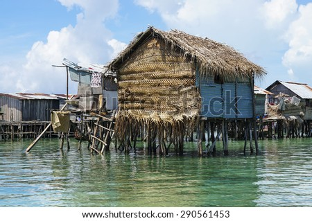 Wooden house of Bajau laut at Omadal Island, Sabah - stock photo