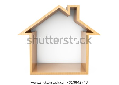 Wooden House Outline on a white background - stock photo