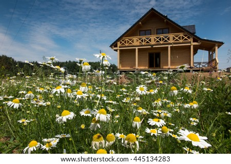 wooden house surrounded by colorful flowers wild - stock photo