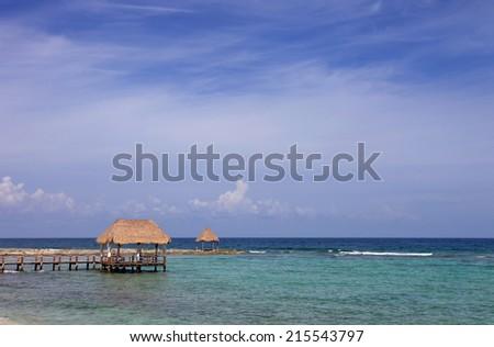 wooden houses at the caribbean sea, yucatan, mexico - stock photo