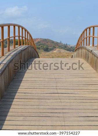Wooden Humpback Bridge - stock photo