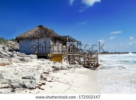 Wooden hut on the seashore. Cayo Largo's island, Cuba - stock photo