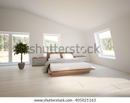 Wooden interior of bedroom in the house with colored furniture - 3d illustration - stock photo