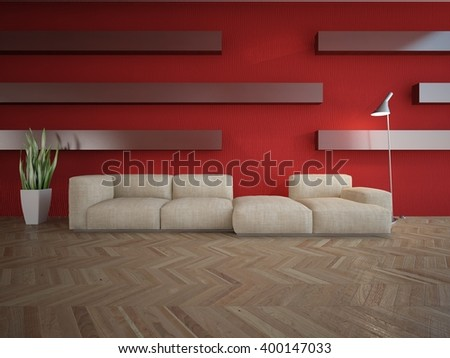 Wooden interior of living room with colored furniture - 3d illustration - stock photo