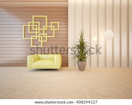 Wooden interior of living room with green armchair and flower on a floor - 3d illustration - stock photo