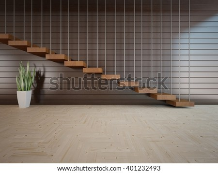 Wooden interior of living room with stair - 3d illustration - stock photo