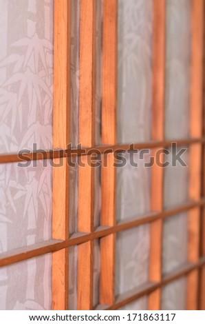 Wooden Japanese door - stock photo