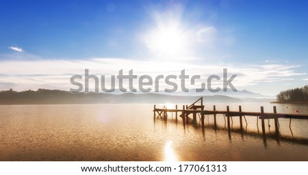 wooden jetty (1) on a bavarian lake, panorama - stock photo