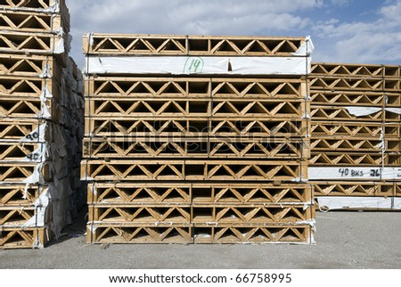 Wooden joists waiting for delivery - stock photo