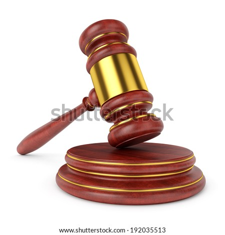 Wooden judge gavel with stand isolated on white background. Law and auction concept. - stock photo