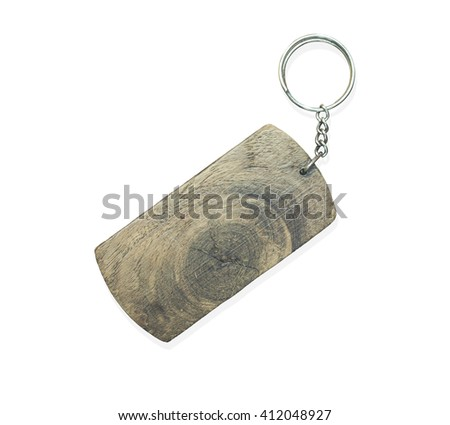Wooden key ring isolated on white. - stock photo