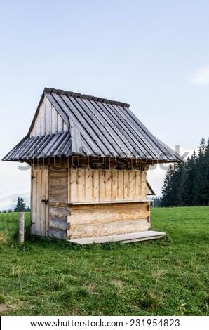 wooden kiosk  somewhere  in Polish mountain - stock photo