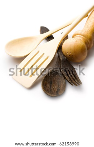 Wooden kitchen-ware isolated on white - stock photo