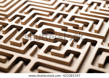 wooden labyrinth - stock photo