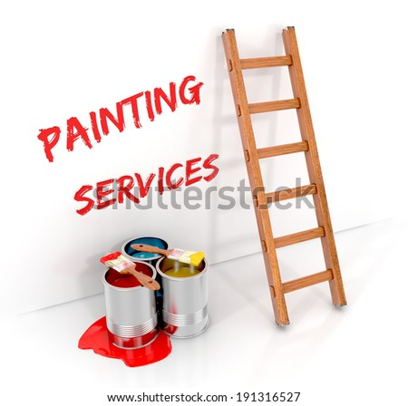 wooden ladders, paint cans with paintbrush and paint. painting services concept. 3d illustration isolated on white background - stock photo
