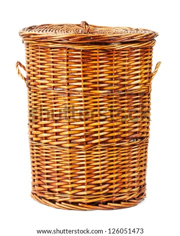 wooden laundry basket isolated on white background - stock photo