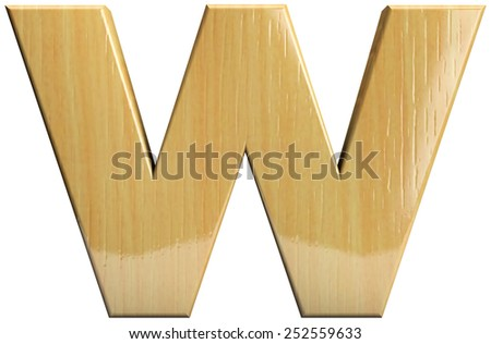 Wooden letter W. Wood character isolated on white. Part of complete alphabet set. - stock photo
